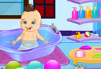 Cute baby bathing