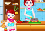 Baby Lulu Cooking with Mom