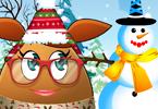 Pou Girl Bulding A Snowman