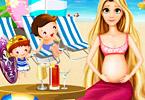 Pregnant Rapunzel Pool Party