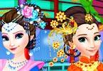 Elsa And Anna Chinese Dressup