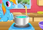 Rainbow Dash Cooking M n M Cake